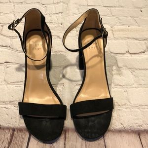 """A New Day vegan suede ankle strap sandal 4"""" heel"""